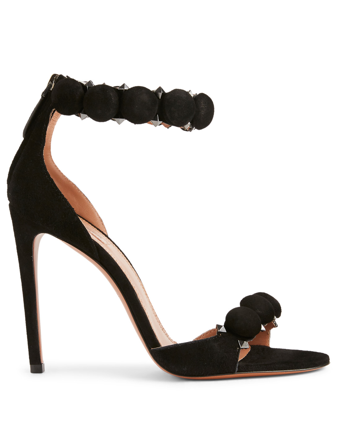ALAIA Bombe Suede Heeled Sandals Womens Black