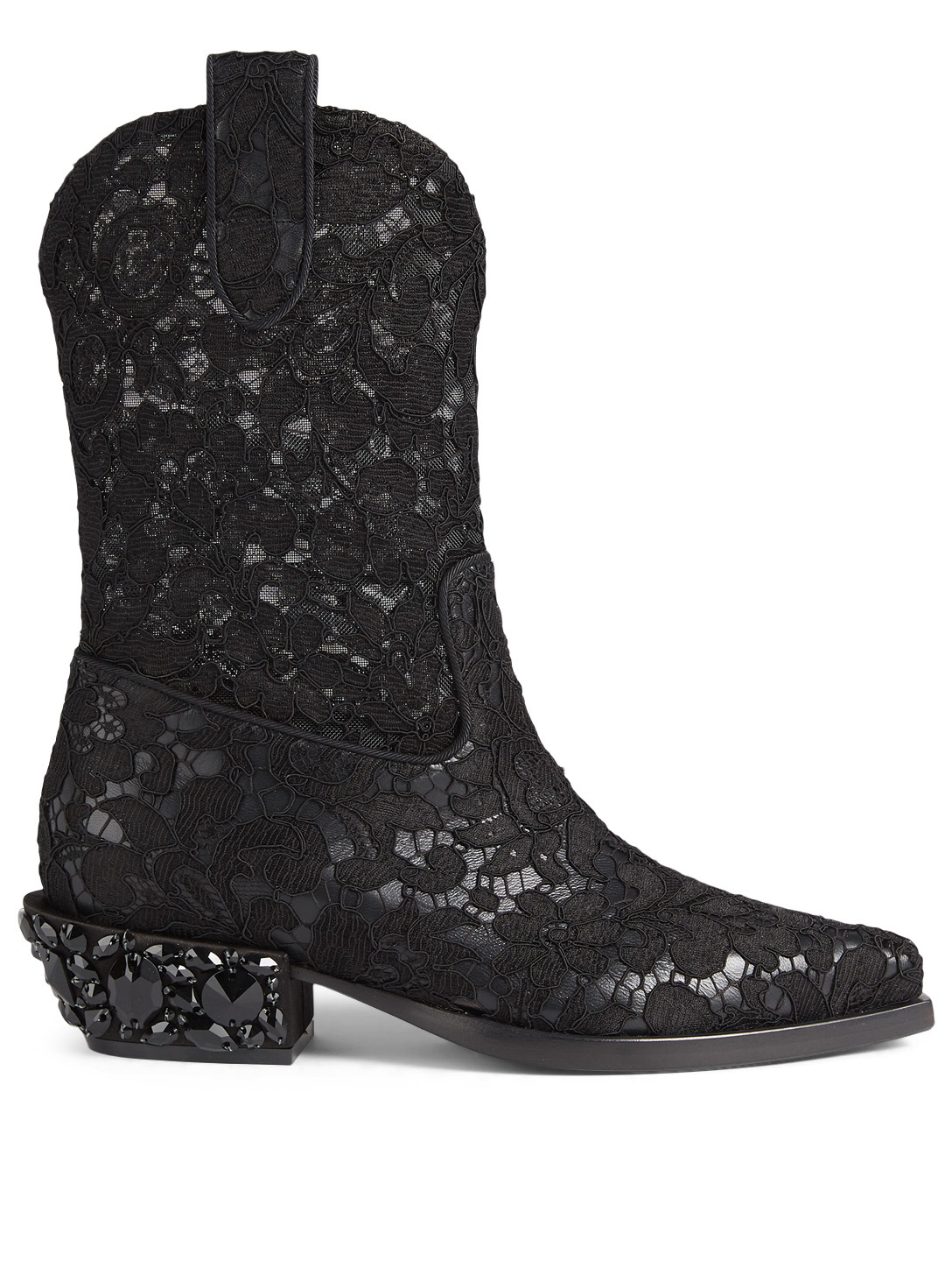 DOLCE & GABBANA Lace Cowboy Boots Womens Black