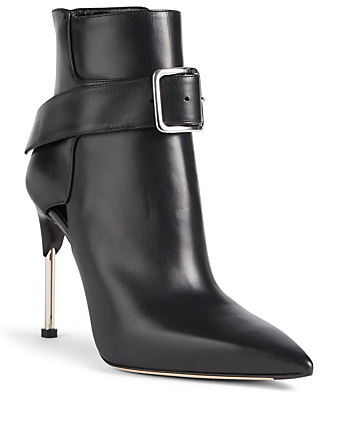 ALEXANDER MCQUEEN Leather Ankle Boots With Buckle Womens Black
