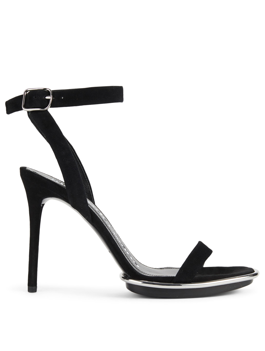 ALEXANDER WANG Cady Halo Pod Suede Heeled Sandals Womens Black