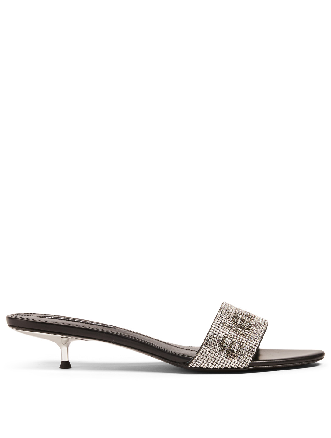 ALEXANDER WANG Jo Mule Sandals With Crystal Logo Womens Black