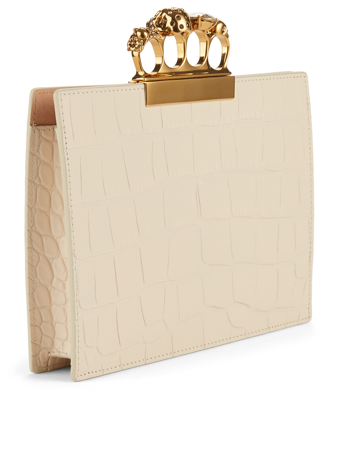 ALEXANDER MCQUEEN Croc-Embossed Leather Four-Ring Clutch Bag With Crystals Women's White