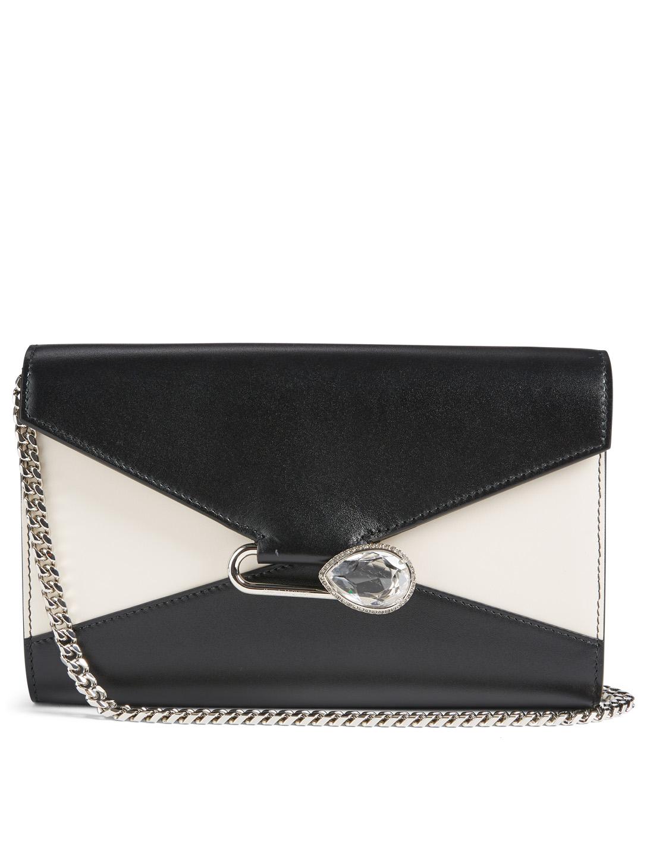a0e35c7b064b ALEXANDER MCQUEEN Pin Leather Chain Wallet Bag Women's Black ...