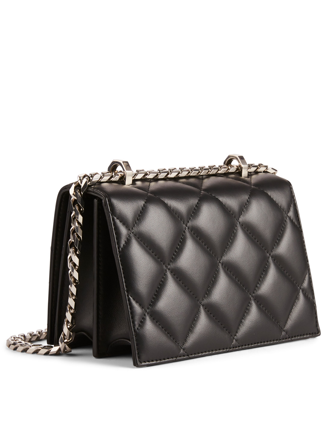 ALEXANDER MCQUEEN Small Quilted Leather Crossbody Bag Women's Black