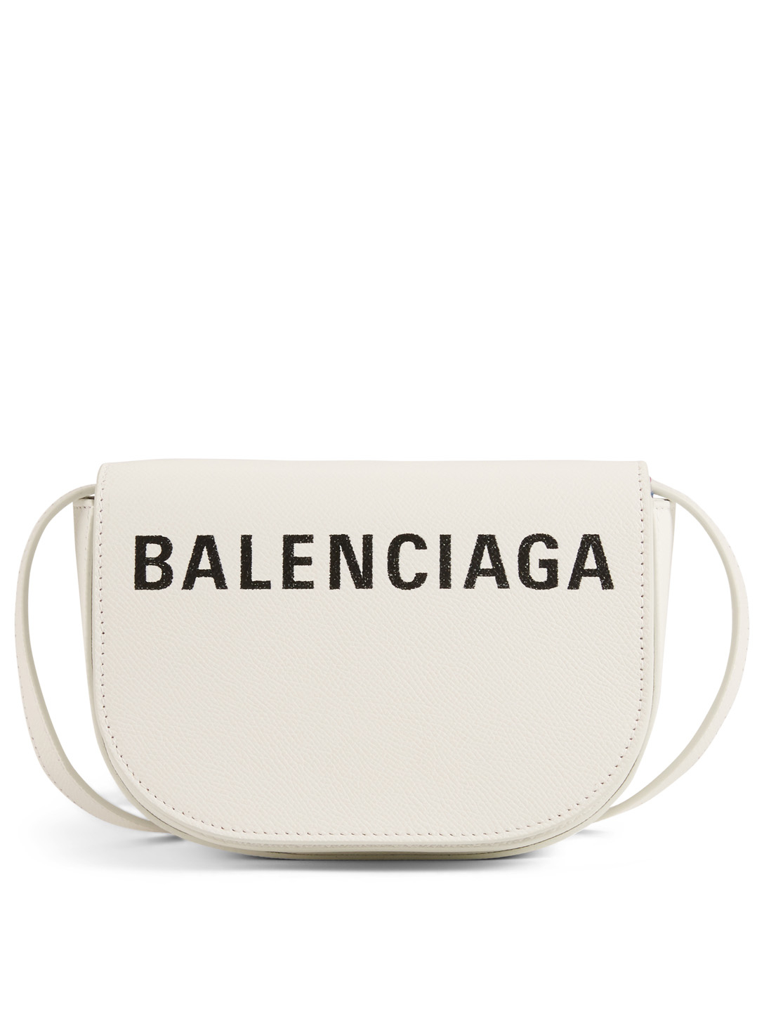 BALENCIAGA Extra Small Ville Leather Crossbody Day Bag With Logo Designers White
