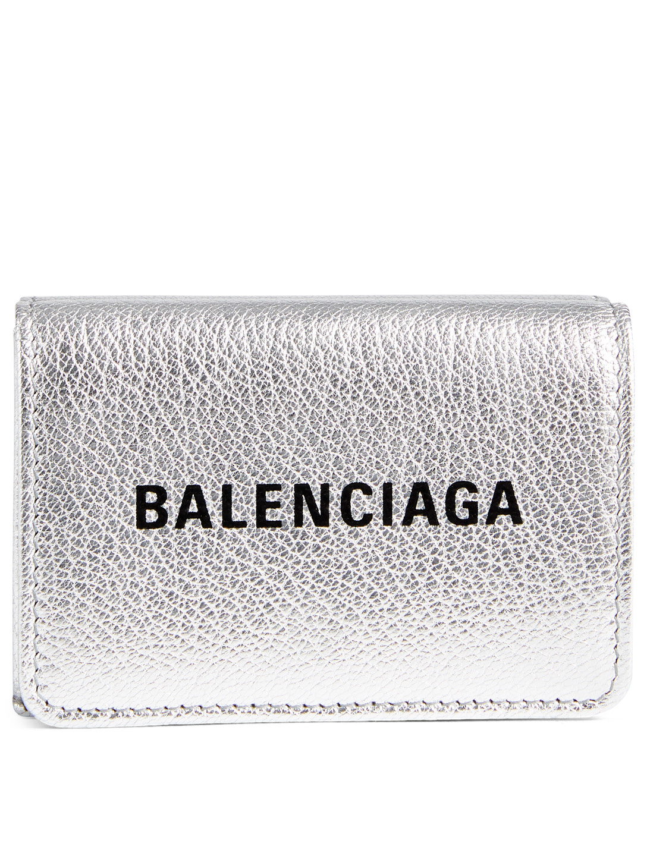 66b302979ba7 BALENCIAGA Mini Everyday Metallic Leather Wallet Designers Silver ...