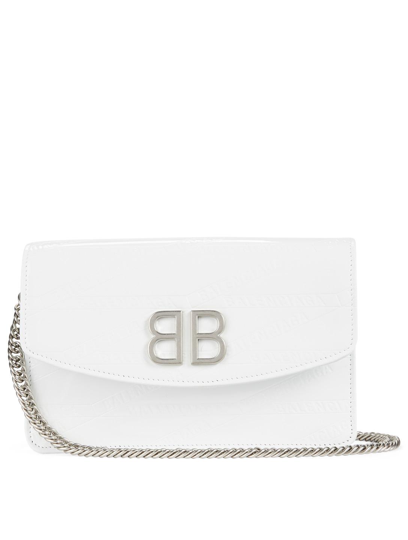 f16c100457555 BALENCIAGA BB Patent Leather Chain Wallet Bag Women's White ...