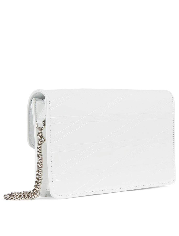 e2896dcfa230a ... BALENCIAGA BB Patent Leather Chain Wallet Bag Women's White ...