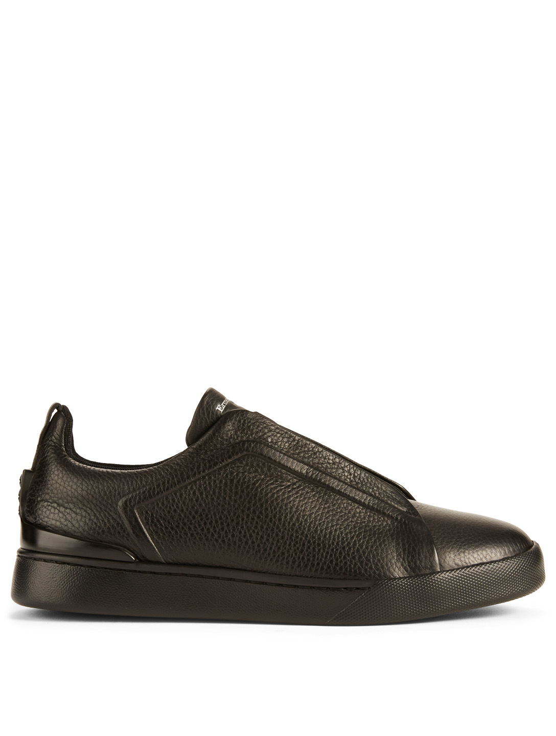 ERMENEGILDO ZEGNA Triple Stitch Leather Sneakers Men's Black
