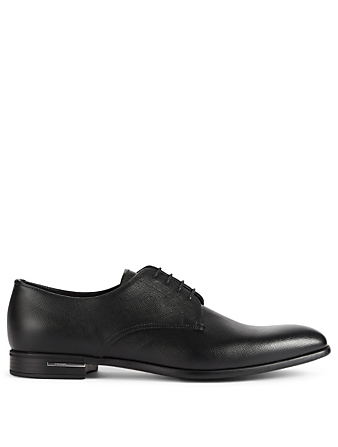 PRADA Saffiano Leather Derby Shoes Designers Black