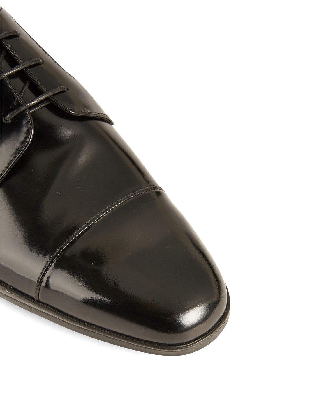 PRADA Brushed Leather Derby Shoes Designers Black