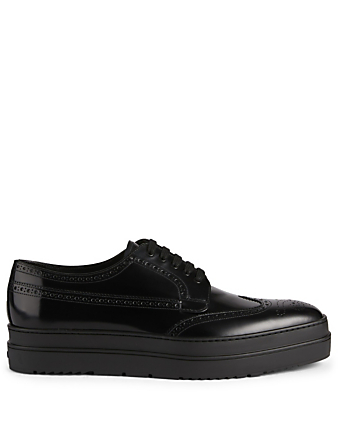 PRADA Leather Platform Derby Shoes Designers Black