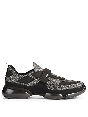 PRADA Cloudbust Metallic Knit Sneakers Designers Grey