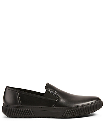 PRADA LINEA ROSSA Stratus Leather Slip-On Sneakers Men's Black