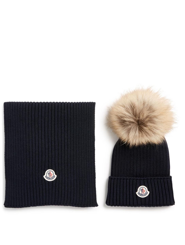 MONCLER ENFANT Ensemble bonnet et écharpe en laine pour enfant Enfants Bleu 08646aa61f4