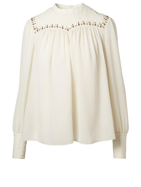 CHLOÉ Silk Embellished Blouse  a968aa429