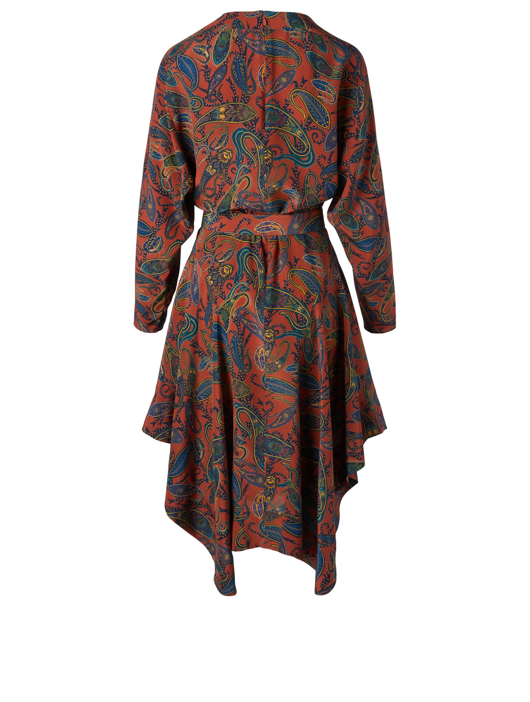 CHLOÉ Silk Belted Dress In Paisley Print Designers Brown