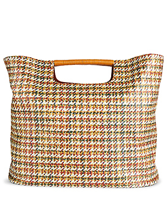 SIMON MILLER Large Birch Tote Bag In Houndstooth Collections Neutral