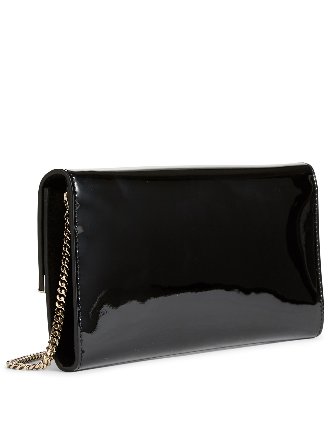 JIMMY CHOO Emmie Patent Leather Clutch Bag Womens Black