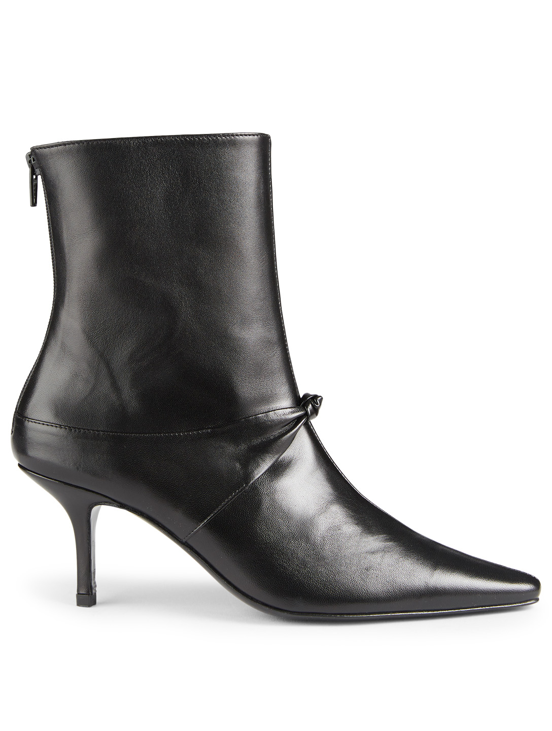 DORATEYMUR Groupie Knot Leather Ankle Boots Womens Black