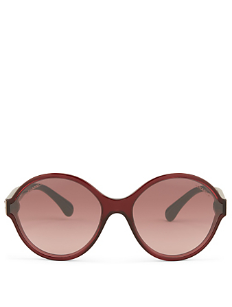 CHANEL Round Sunglasses Women's Red