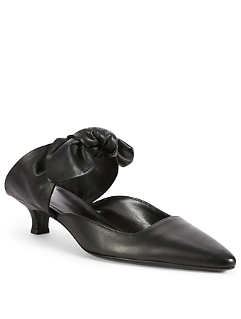 THE ROW Coco Leather Kitten Heel Mules Womens Black
