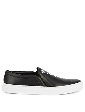 GIVENCHY Logo Printed Leather Slip-On Sneakers Men's Black