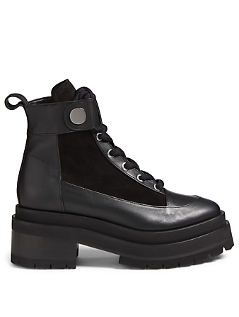 PIERRE HARDY Penny Leather Platform Combat Boots Womens Black