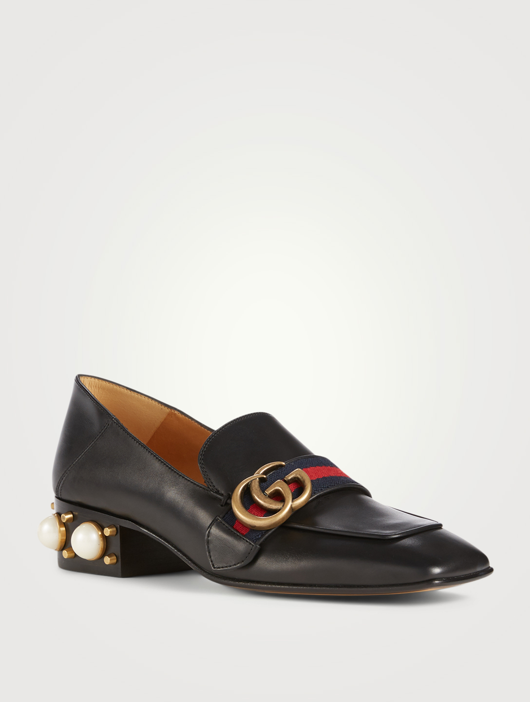 GUCCI Leather Heeled Loafers Designers Black