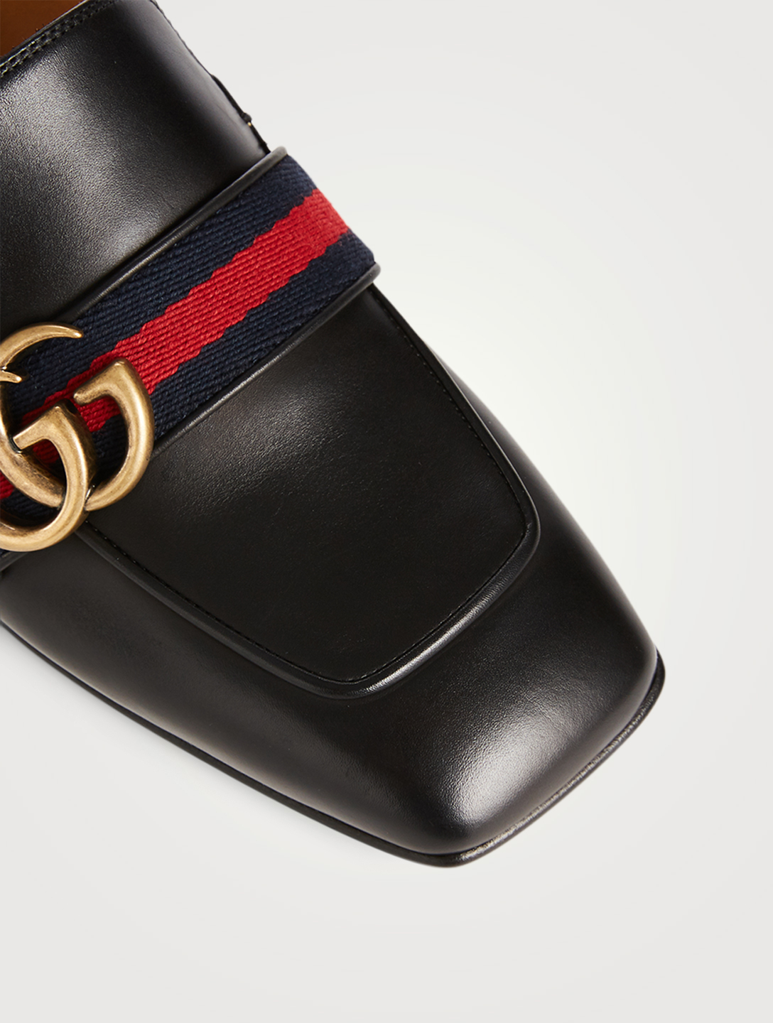 GUCCI Leather Heeled Loafers Women's Black