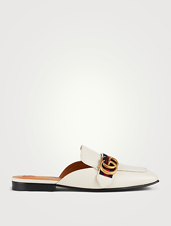GUCCI Leather Flat Mules Women's White