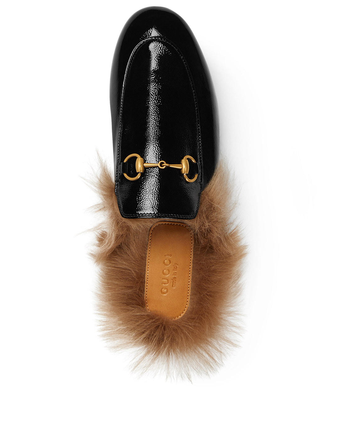 GUCCI Princetown Patent Leather Slippers With Fur Designers Black