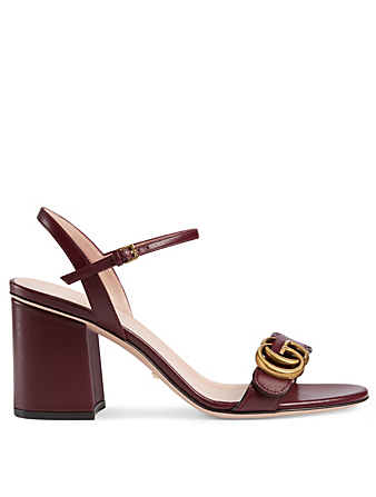 GUCCI Marmont Leather Heeled Sandals Womens Brown