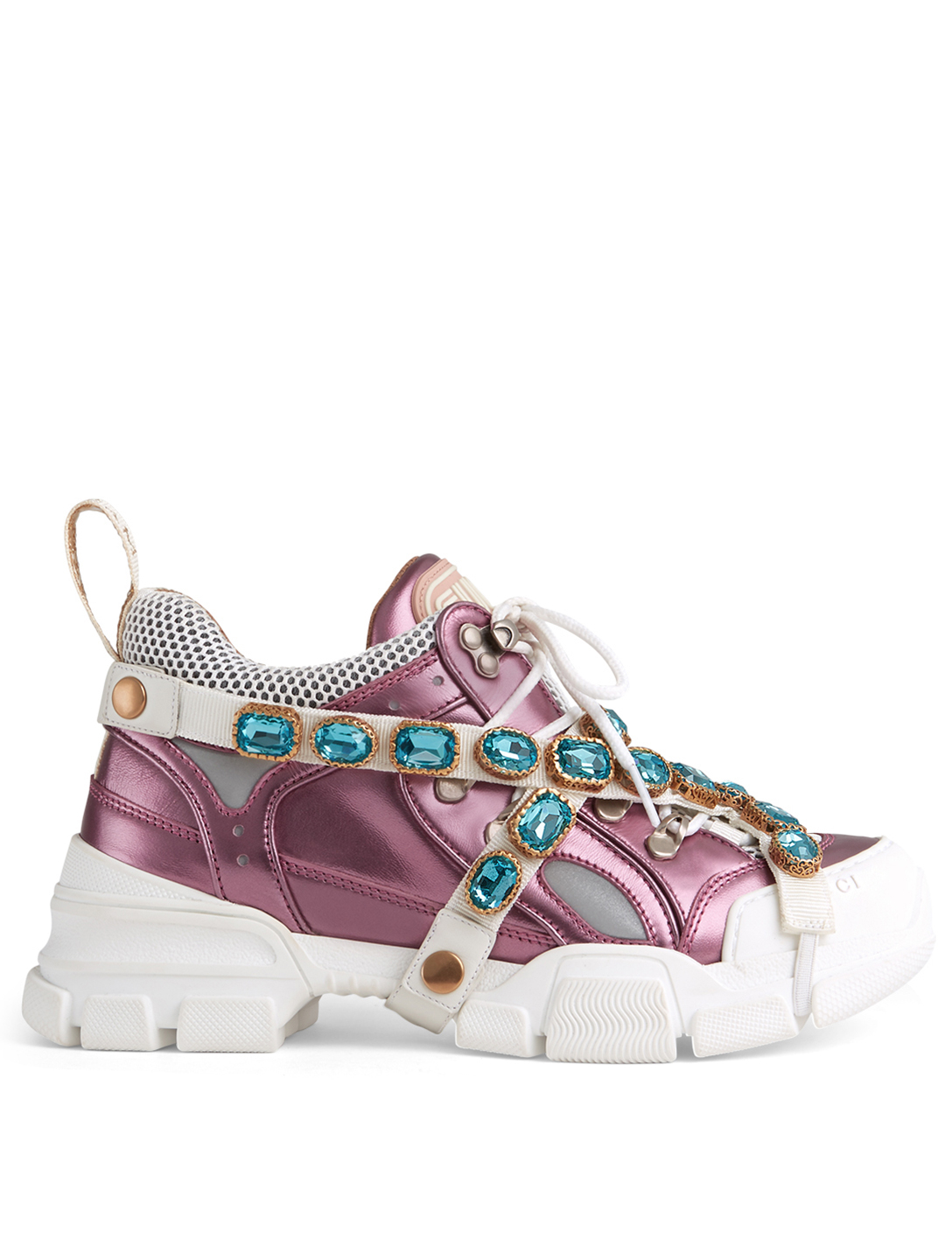724e04e836464 GUCCI Flashtrek Sneakers With Removable Crystal Straps