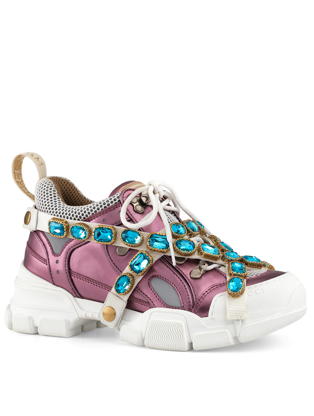 18f60b12242 ... GUCCI Flashtrek Sneakers With Removable Crystal Straps Designers Pink  ...