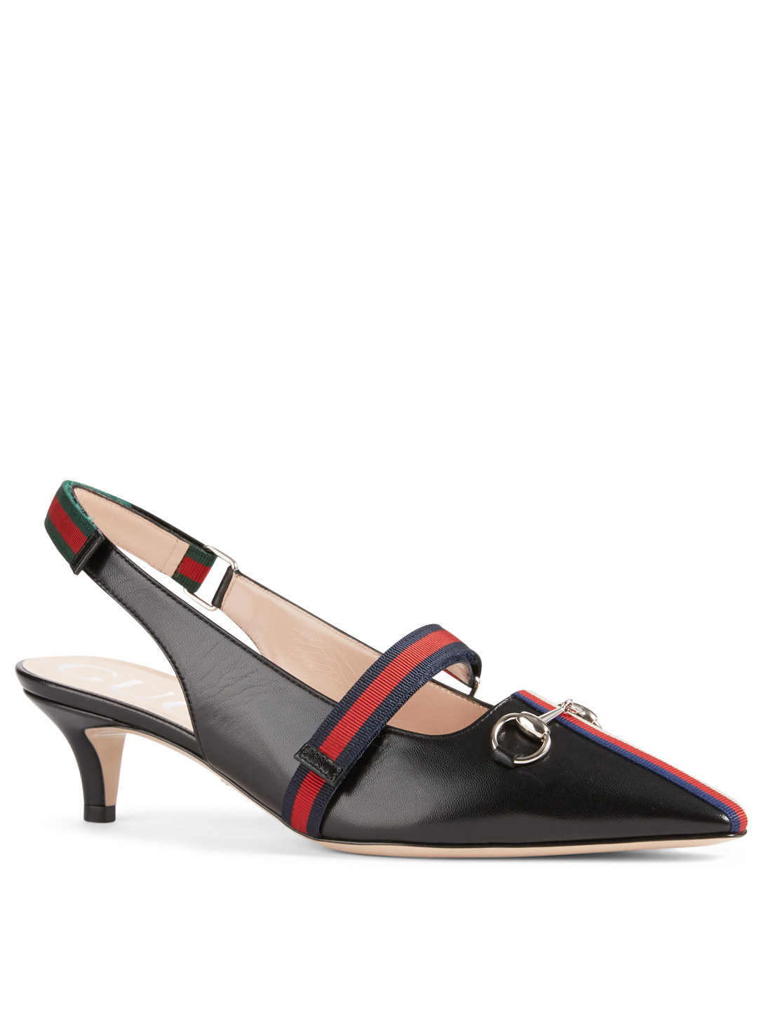 GUCCI Leather Slingback Pump With Web Designers Black