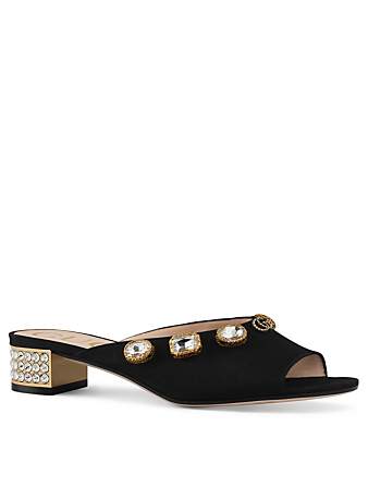 GUCCI Moiré Suede Heeled Sandals With Crystals Designers Black