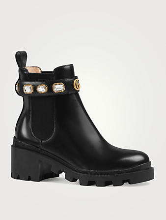 GUCCI Leather Ankle Boots With Crystal Belt Designers Black