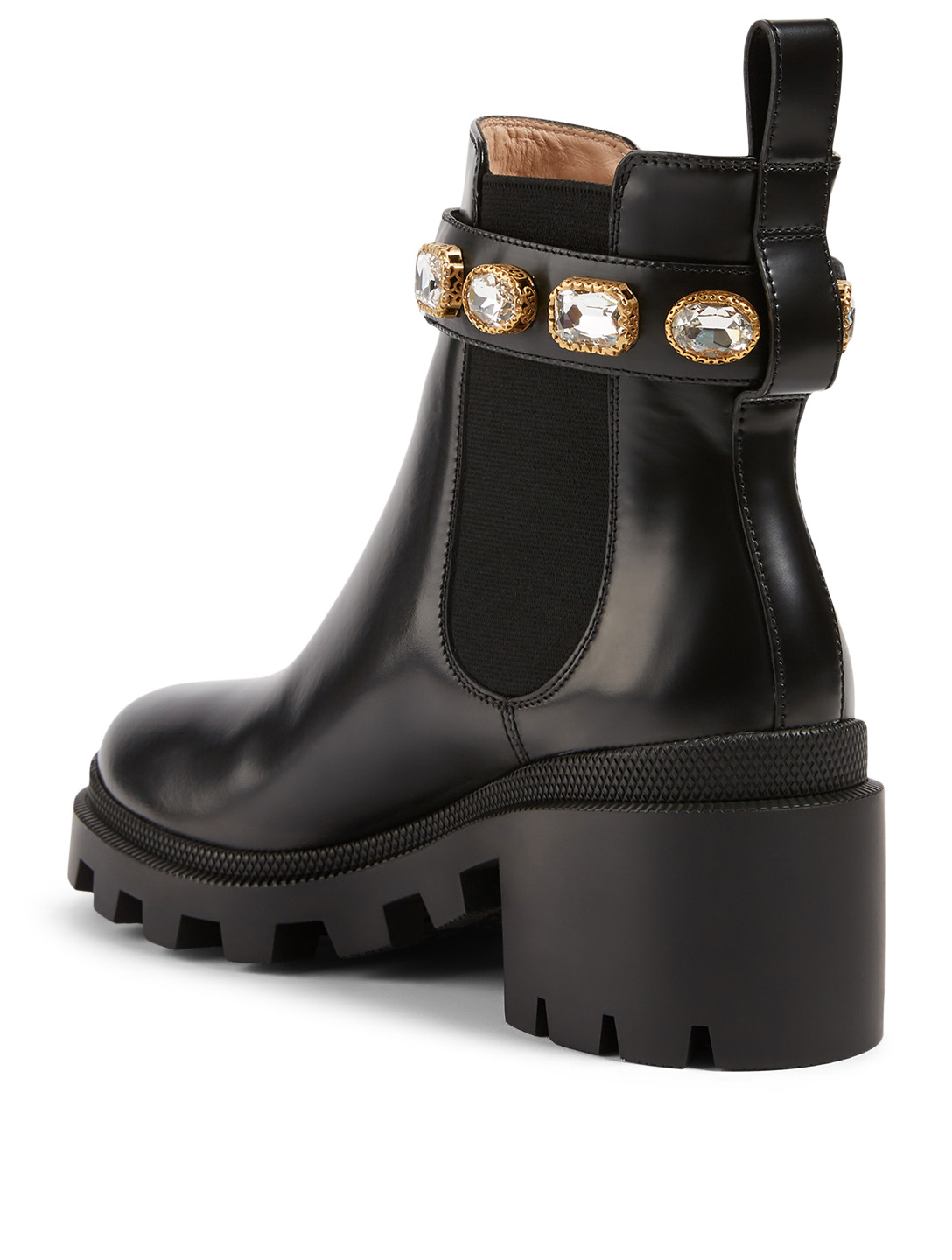 GUCCI Leather Ankle Boots With Crystal Belt Women's Black