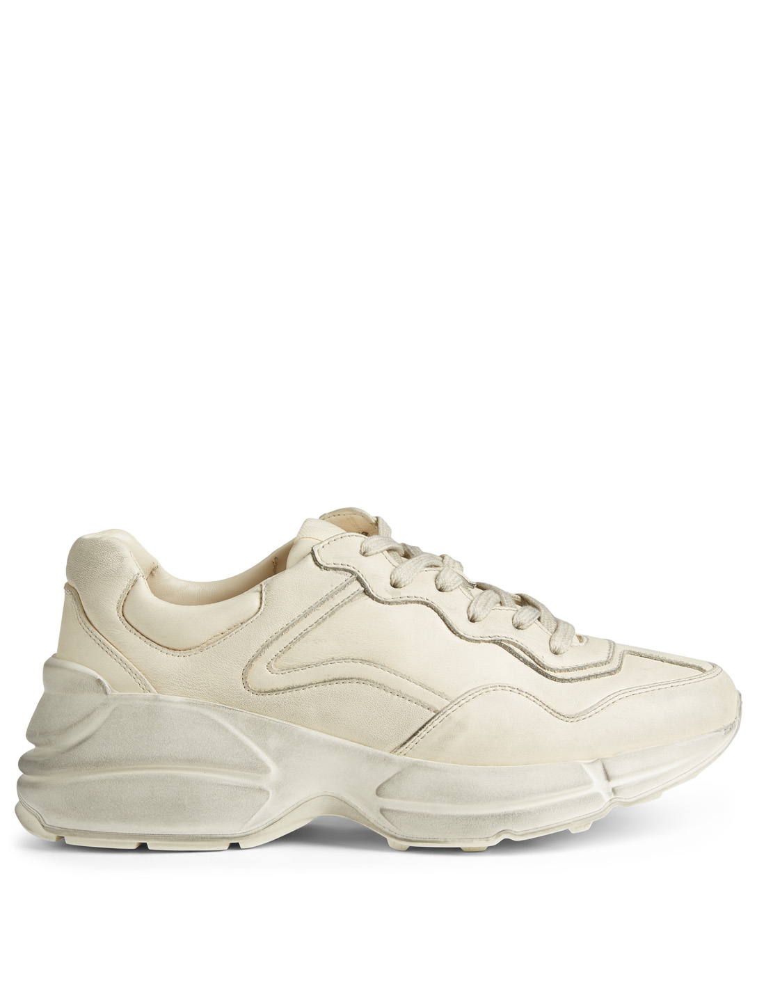 c5c064579d9 GUCCI Rhyton Leather Sneakers Women s White ...