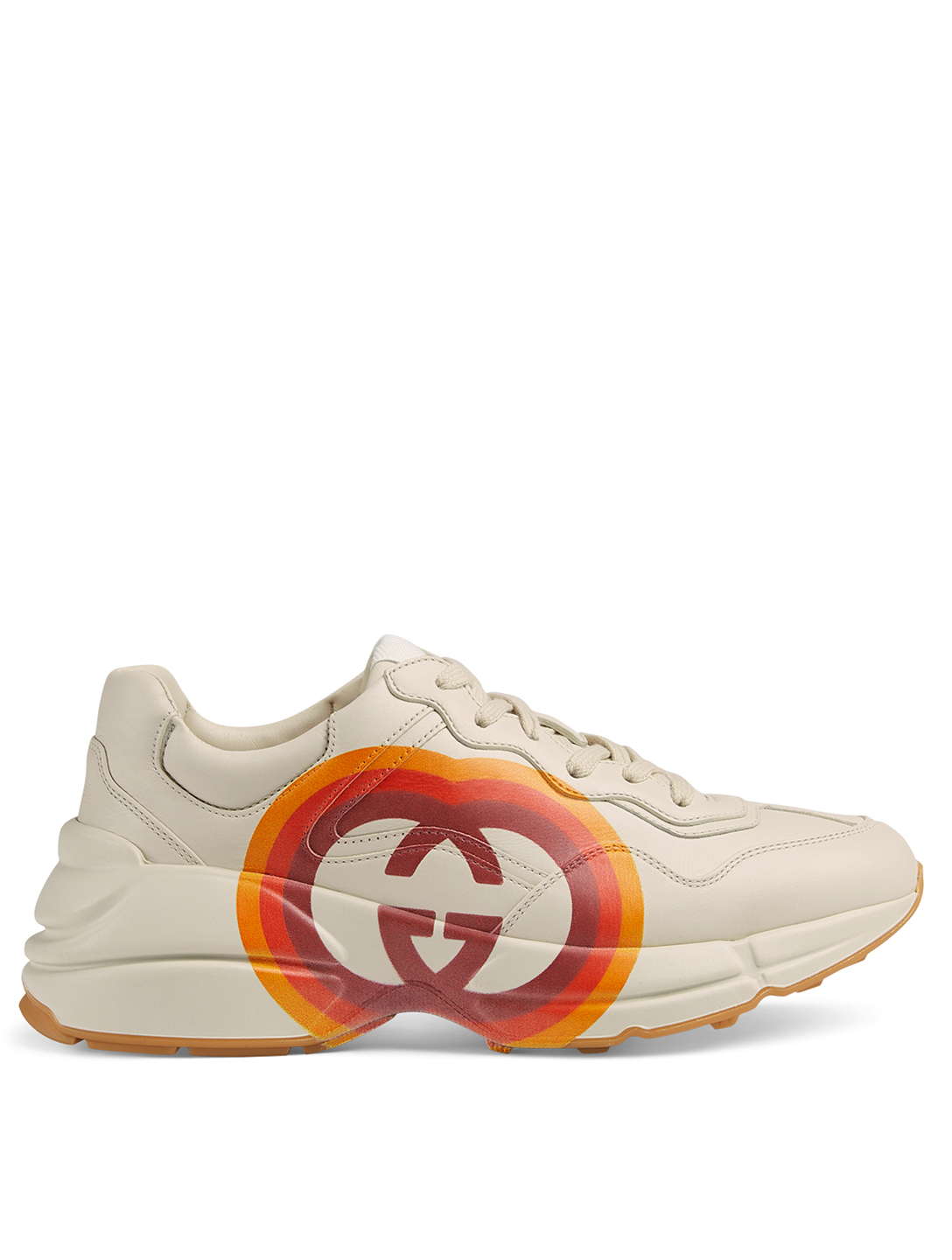 42eee4706 GUCCI Rhyton Leather Sneaker With Interlocking G And Heart Women's White ...