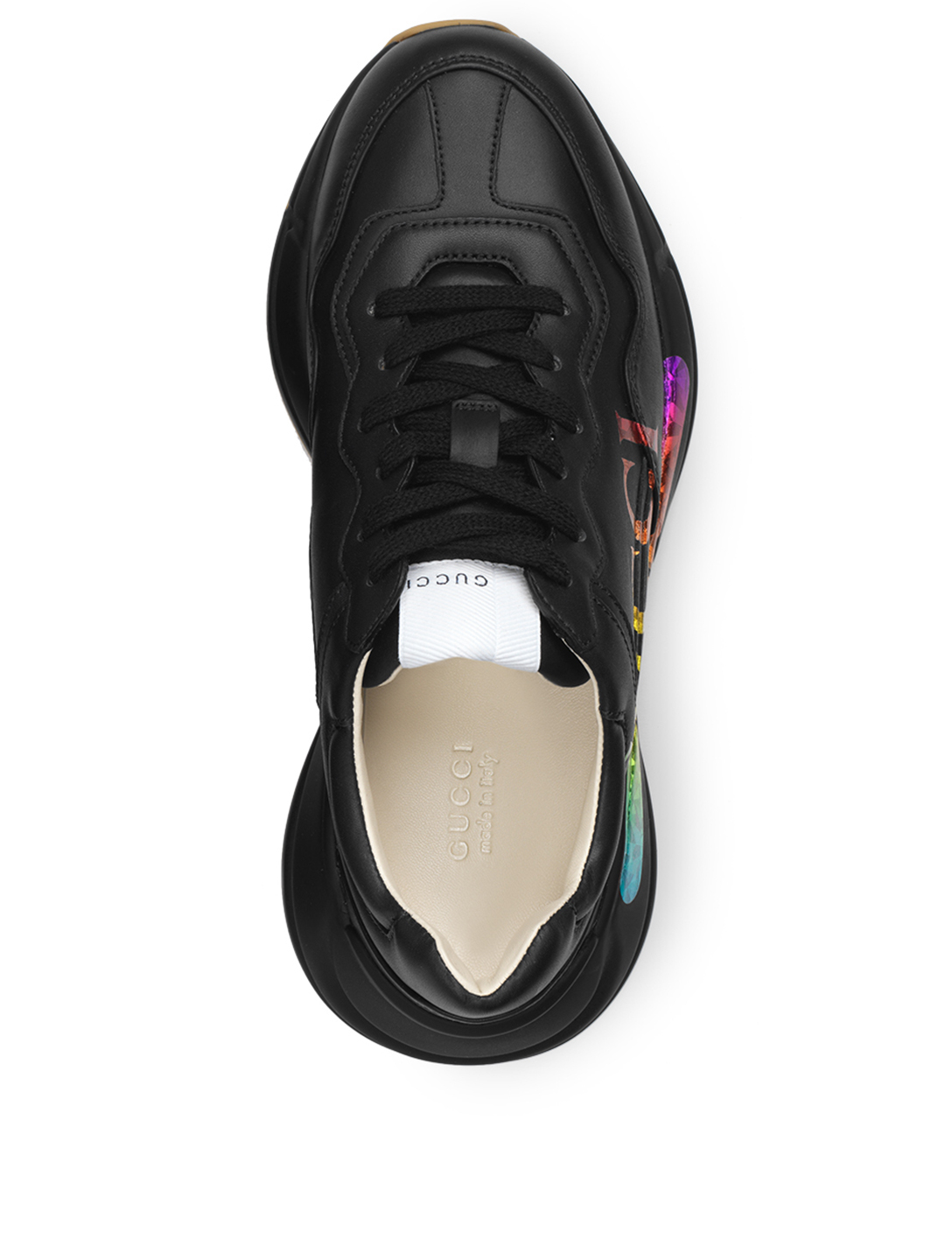 GUCCI Rhyton Leather Sneaker With Rainbow Logo Designers Black