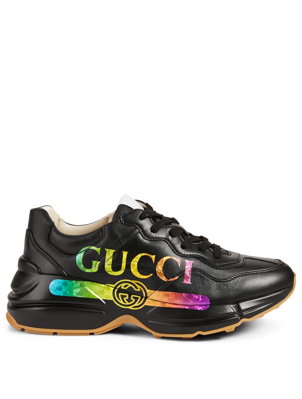 e08c33b01eb GUCCI Rhyton Leather Sneaker With Rainbow Logo Women's Black ...