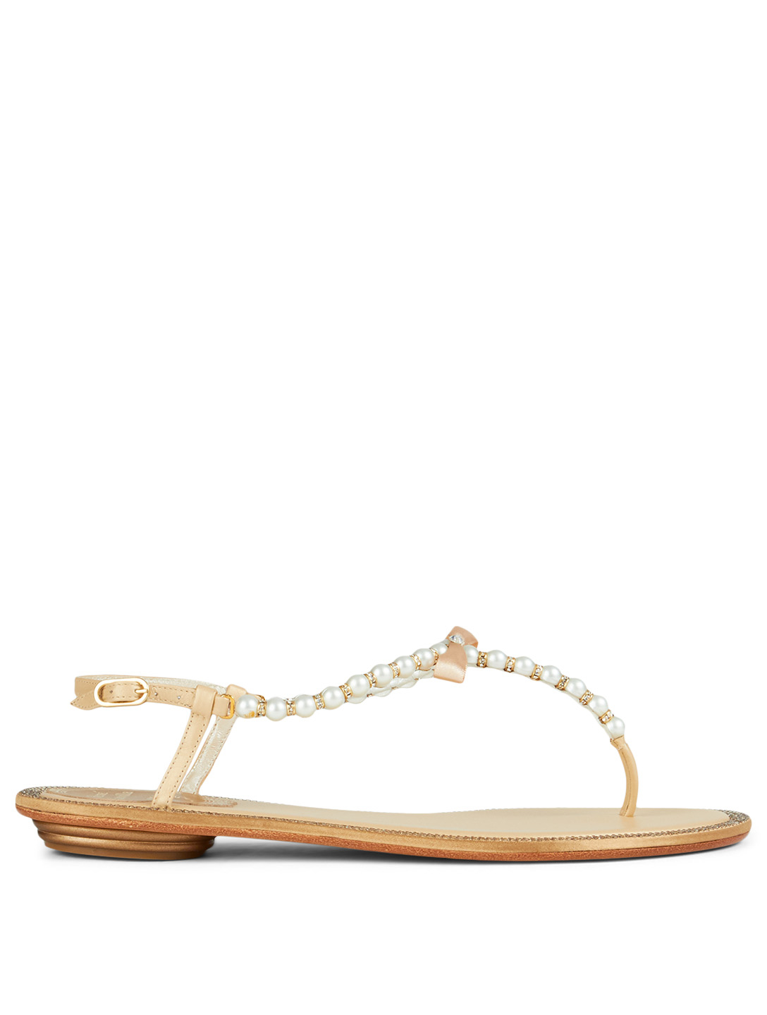 1c9a3d299c1 RENE CAOVILLA. Eliza Flip Leather Sandals With Pearl And Crystal Straps
