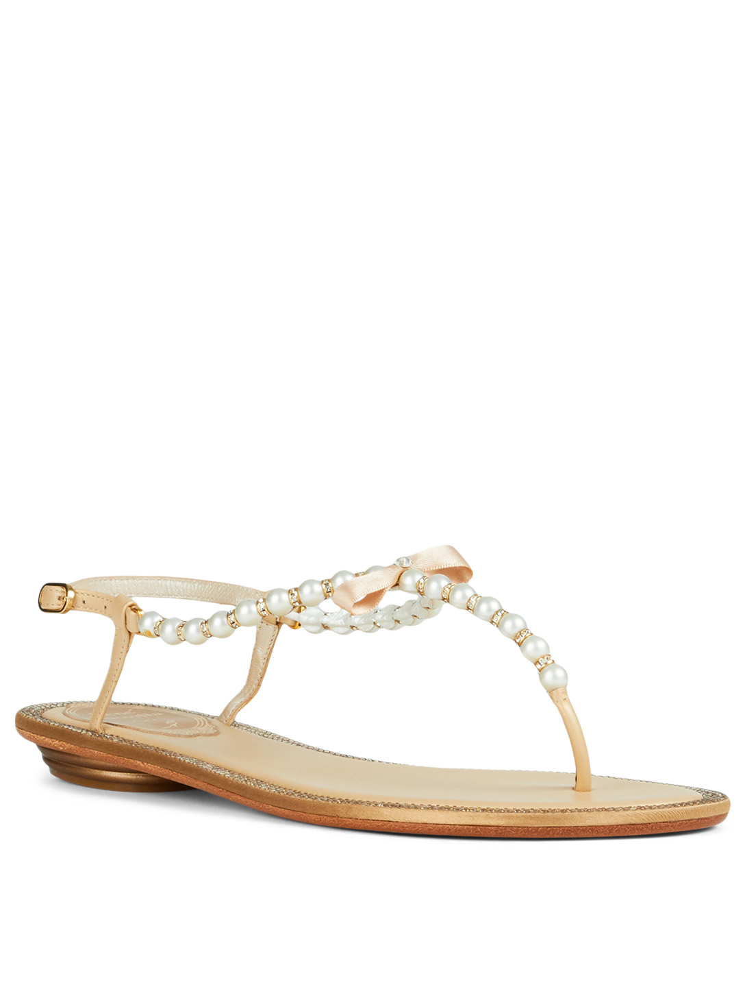 57669619543 ... RENE CAOVILLA Eliza Flip Leather Sandals With Pearl And Crystal Straps  Womens Gold ...