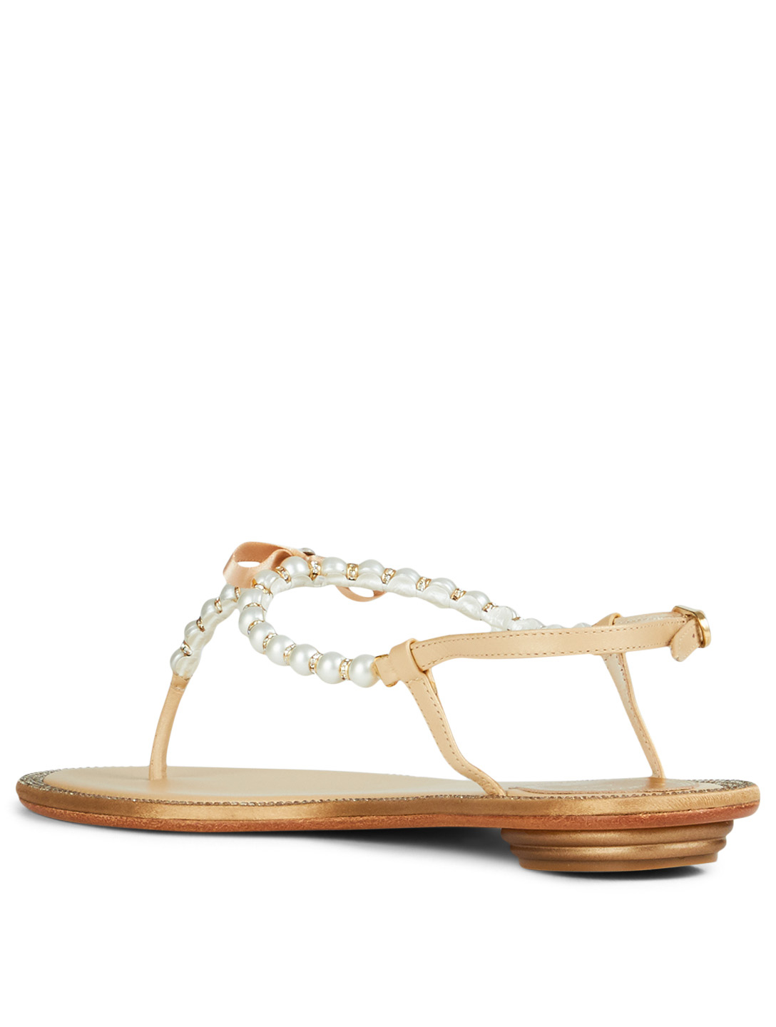 0e9a7ac334a ... RENE CAOVILLA Eliza Flip Leather Sandals With Pearl And Crystal Straps  Women s ...