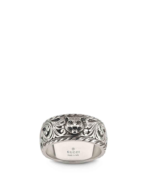 015940bc8 GUCCI Sterling Silver Feline Head Ring | Holt Renfrew