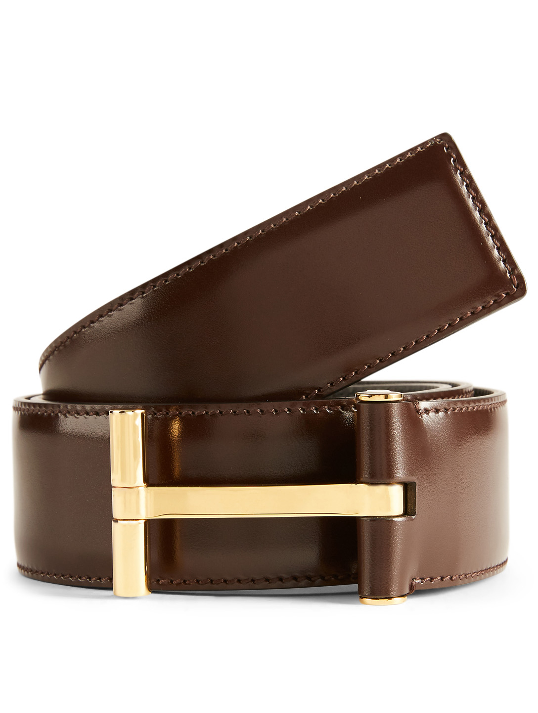TOM FORD Leather T Buckle Belt Men's Brown