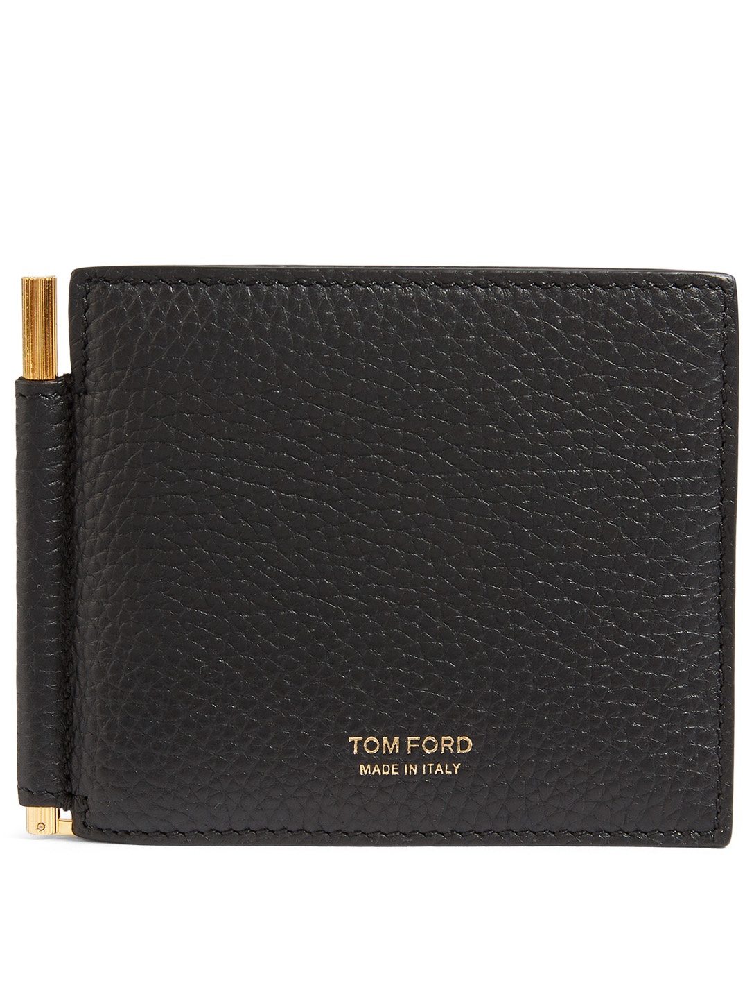 TOM FORD T Line Leather Wallet With Money Clip Men's Black