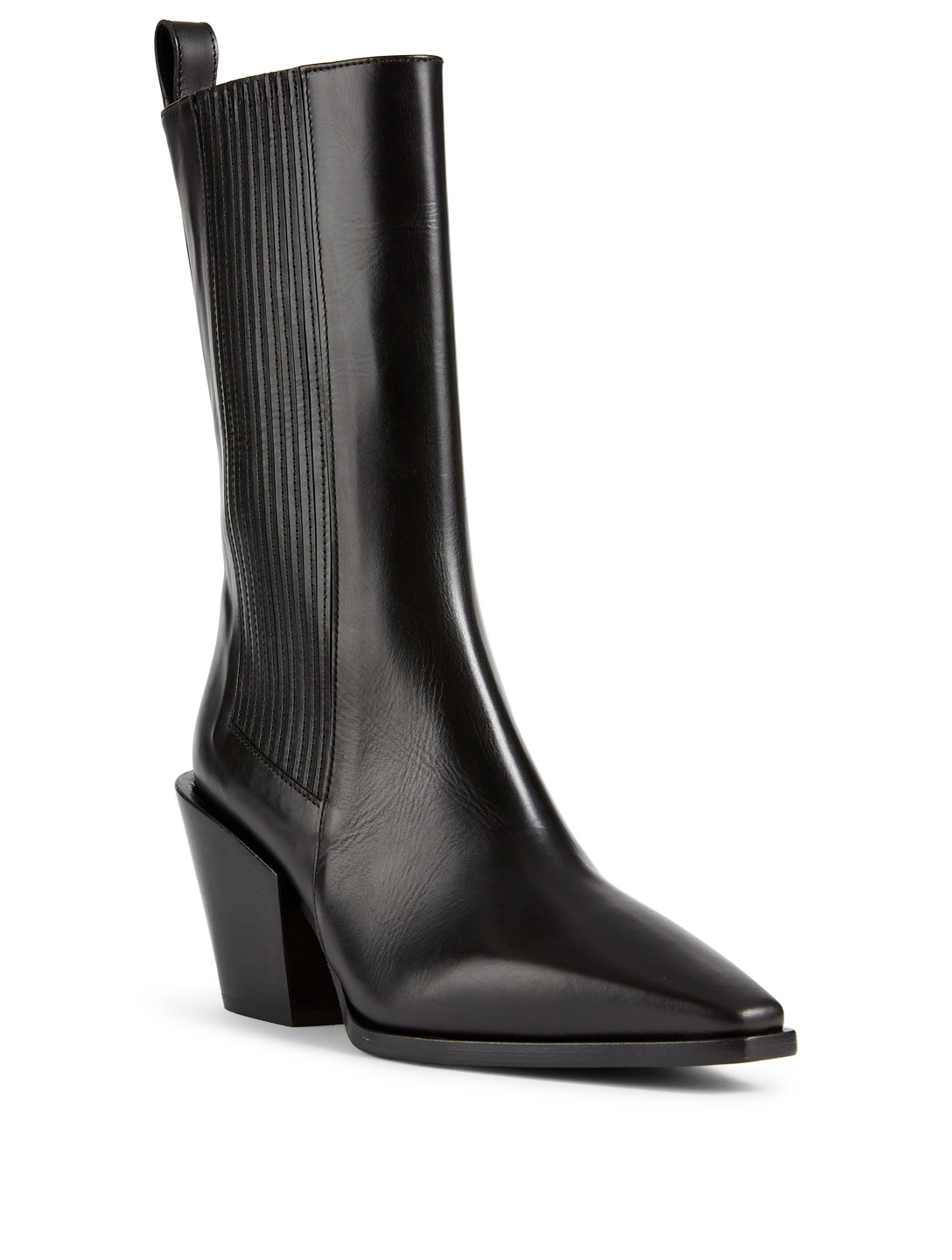AEYDE Ari Leather Mid-Calf Boots Womens Black